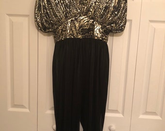 93d1f9be408 Susan Roselli Vintage Metallic Disco Jumpsuit Gold Animal Print tapered leg  draped fitted Jumper..Disco 70 s 80 s High Waist Evening Retro