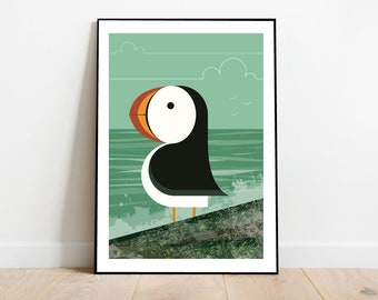 Puffin on a rock, retro midcentury 1960s Illustration print/poster - bird poster - nature print