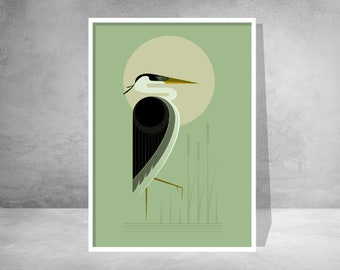 Heron in the reeds, retro midcentury 1960s Illustration print/poster - bird poster - nature print