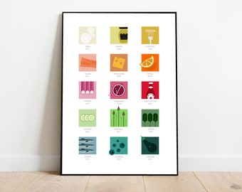 Food Colour Chart , paint swatch style card, retro midcentury 1960s Illustration print/poster - ingredients poster - food print