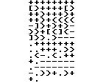 "Brainf*ck ""hello world"" cross-stitch pattern"