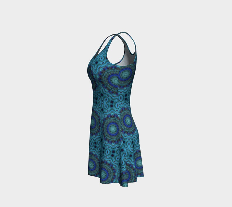 mandala wearable art sleeveless,bold Flare dress soft night out dress pour art Ocean Dreams design 4a Acrylic paint print blue