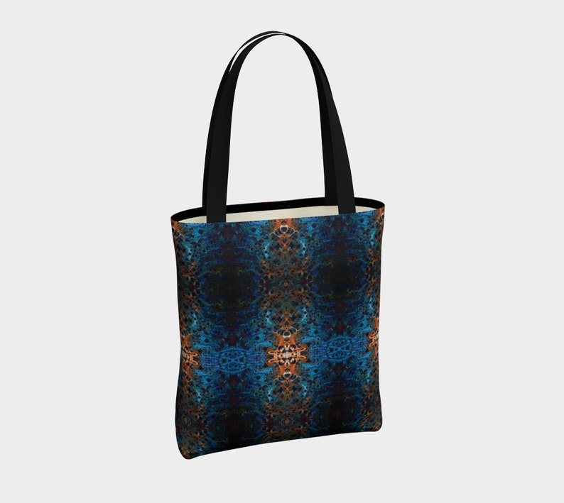 Blue Tote Bag,shopping bag,purse,book bag,gift bag,magnetic closure tote,mulit-use tote bag Ocean Dreams design 1a-Acrylic paint print