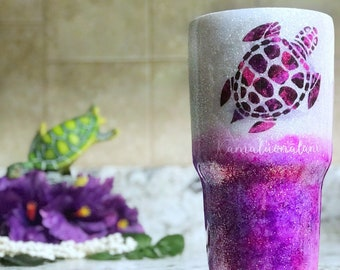 Sea Turtle Tumbler - Glitter Tumbler - Watercolor Tumbler - Purple Tumbler - Hawaiian Tumbler - Hawaiian Gifts for Home