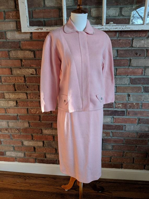 Vintage 1950's Spring Pink Knit Skirt Set Knits by