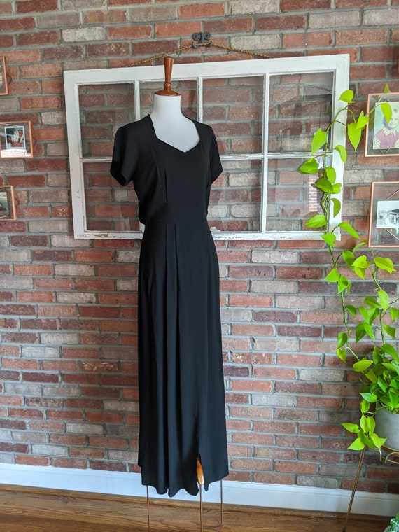 Vintage 1930's Long Black Crepe Short Sleeve Dress