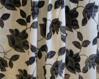 Navy, white and gold Swiss cotton voile