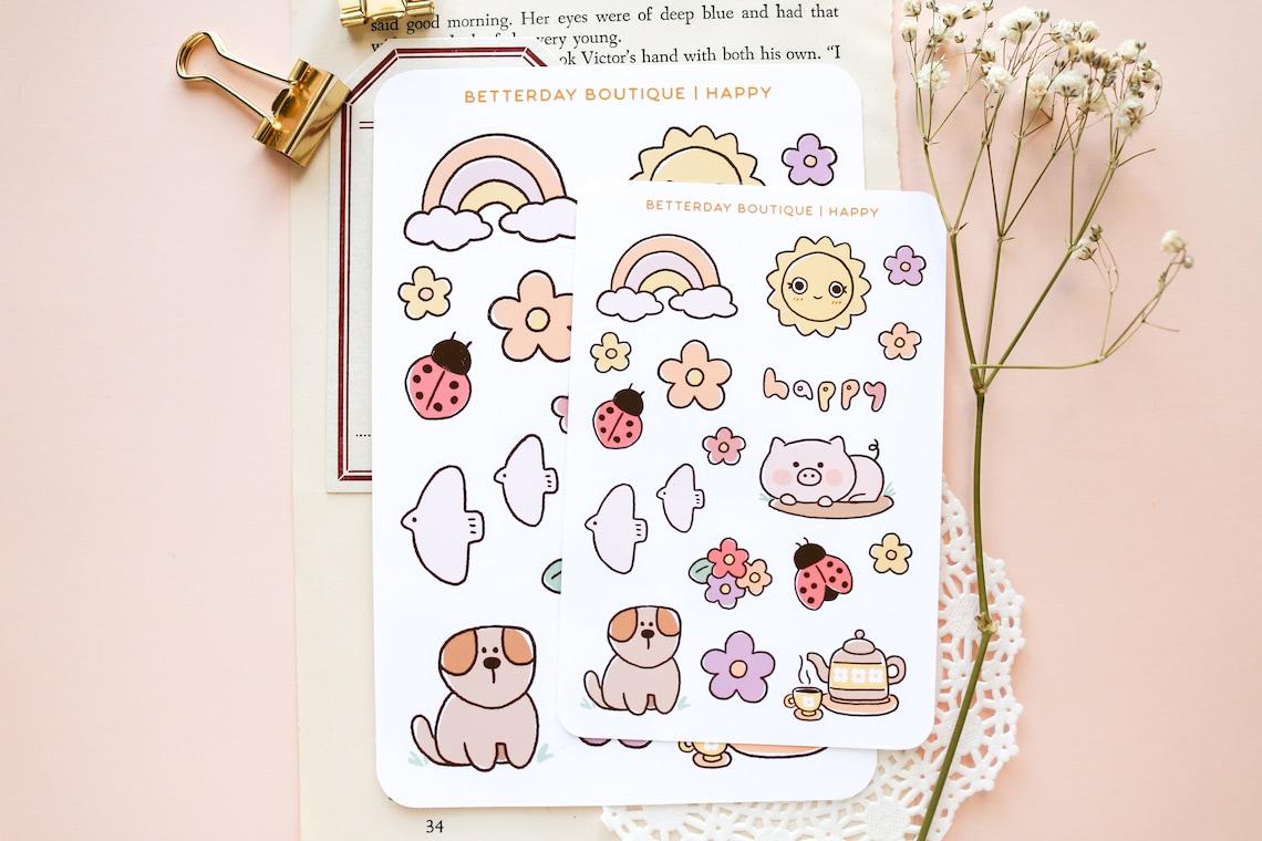 Happy Sticker Sheet Planner Sticker Rainbow Sticker Journal image 5