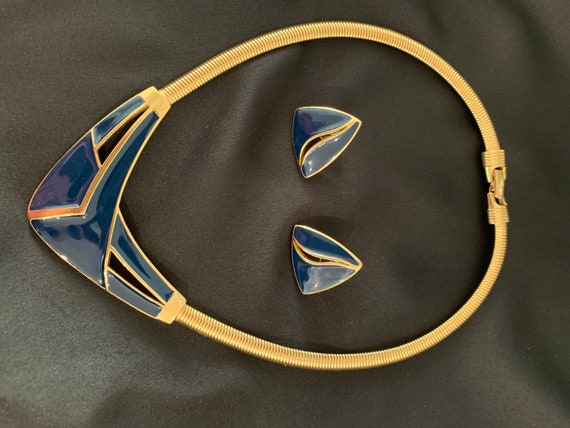 Trifari Gold tone and enamel necklace and earring set 70s