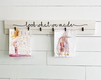 "36"" look what i made art sign | kids art display | artwork display for children | minimal | modern farmhouse | kids art organization"
