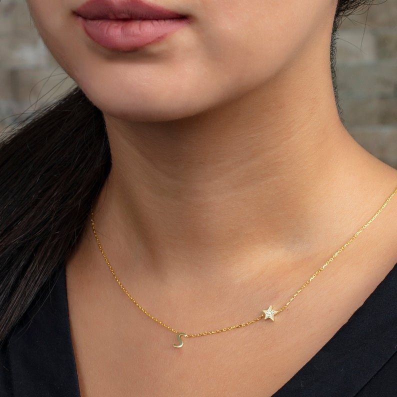 Diamond Initial Necklace  Gold Plated Diamond Star Charm and Initial Necklace  Cubic Zirconia Star Layering Necklace  Diamond Gifts Ideas