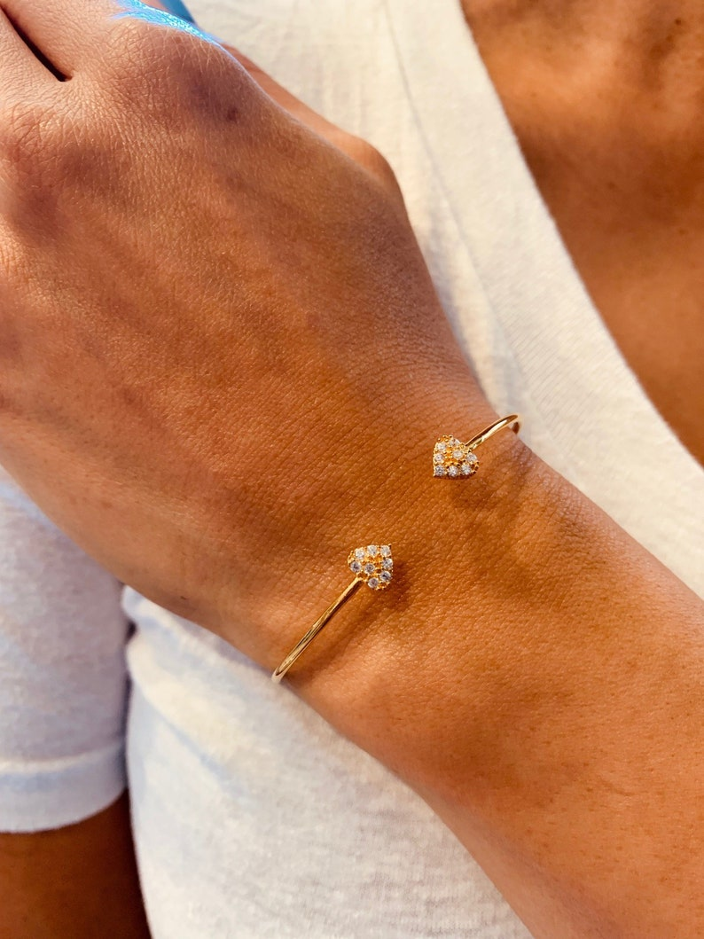 Gold Plated Wire Bangle Bracelet with CZ Hearts Dainty Gift for Her