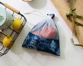 Zero waste reusable produce bags - Eco-friendly tie dye bags - Upcycled drawstring bag set - Plastic Free, Organic & Eco Friendly Gift