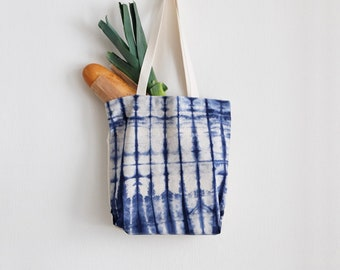 Navy Blue Tote Bag - Tie dye tote bag - Cotton Shopping bag - Canvas cotton tote - Gift idea for Mother - Stylish shopping bag