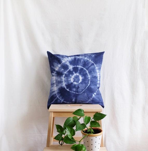 Blue Tie Dye Cushion Pillowcase. 20x20