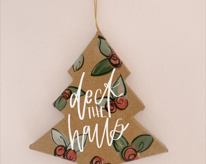 Hand-Painted & Lettered Christmas Tree Ornament | Boho Personalized Ornament