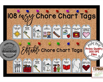 Chore Chart Clipart, Printable Chore Chart for Kids - Commercial and P –  PinkPueblo