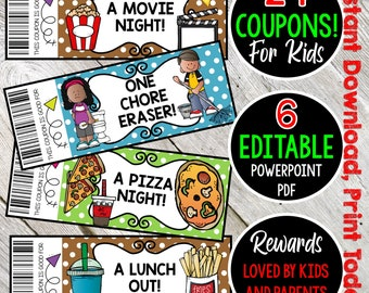EDITABLE Reward/Gift Coupons. Reward Coupons for Kids. Instant Download. Cute too!