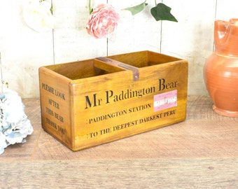 Antique Furniture Mr Paddington Bear Vintage Style Handmade Wooden Storage Box With Ornate  Handle