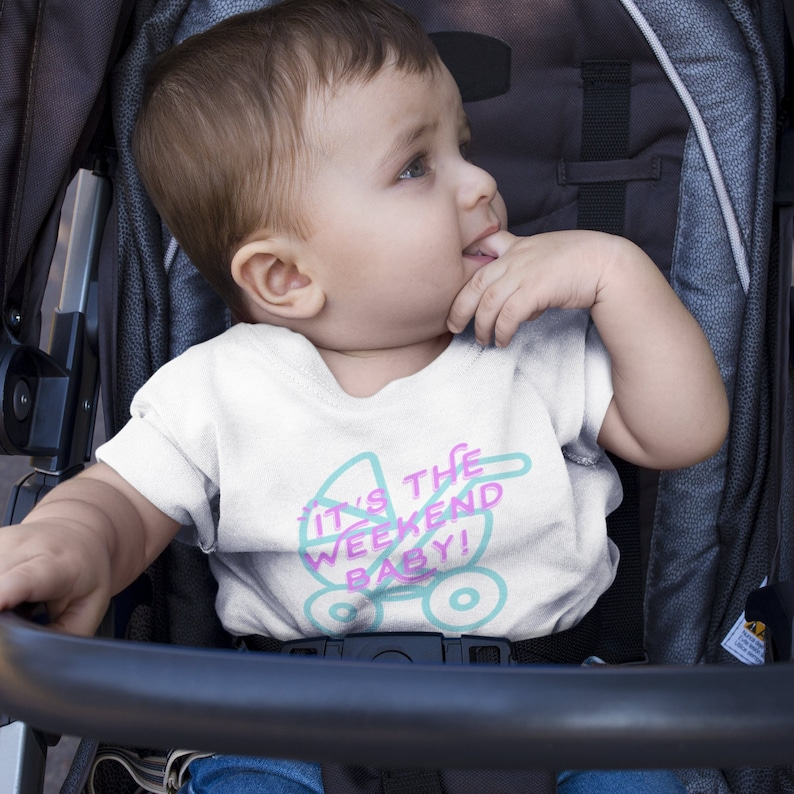 d6f7d6a6eb1f2 It's the weekend baby carriage infant jersey short sleeve tee, comfortable  and cute design baby tshirt