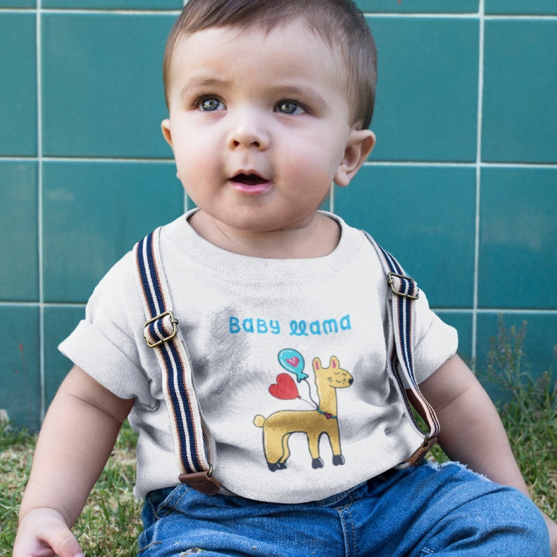 e7ce3bc314eec Funny baby llama tee with balloons and baby llama written above for infants.