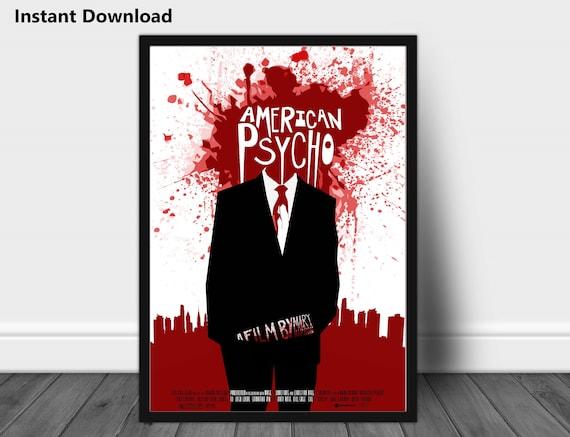 American Psycho instant download, vintage poster, movie poster, movie  prints wall art, retro film original poster