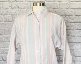 Pastel Batwing Sleeve Collared Shirt // Sparkle Button-Up Vintage