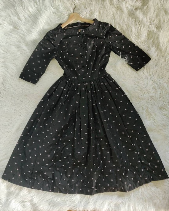 Vintage Midcentury 50s 60s Black Dress // Polka Do