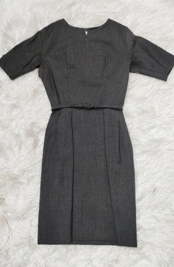 Vintage 1950s Grey Wool Dress // Carlye Wiggle Dre