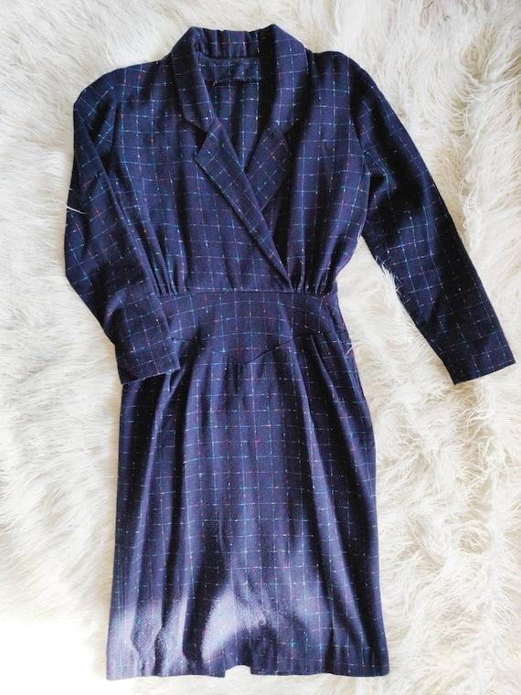 Vintage Mid-century Plaid Dress // Navy Collared H
