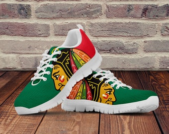 cheap for discount b47b8 b3ad8 Chicago Blackhawks Shoes, Chicago Blackhawks Inspired Custom Shoes for Men,  Women and Kids. Chicago Blackhawks Ice Hockey Sneakers