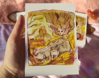 Sitting Fairy -  Fantasy Landscape - A6 Postcard Art Print - Floating Hair - Ink Illustration - Traditional Drawing - Magic Fairy Faeries