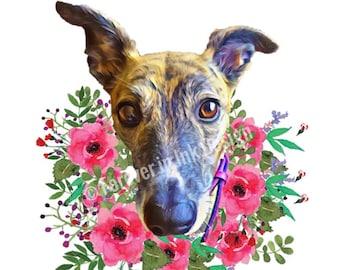 aee3f00145c1c Custom digital pet portrait from photo. Digital Download. Pet memorial