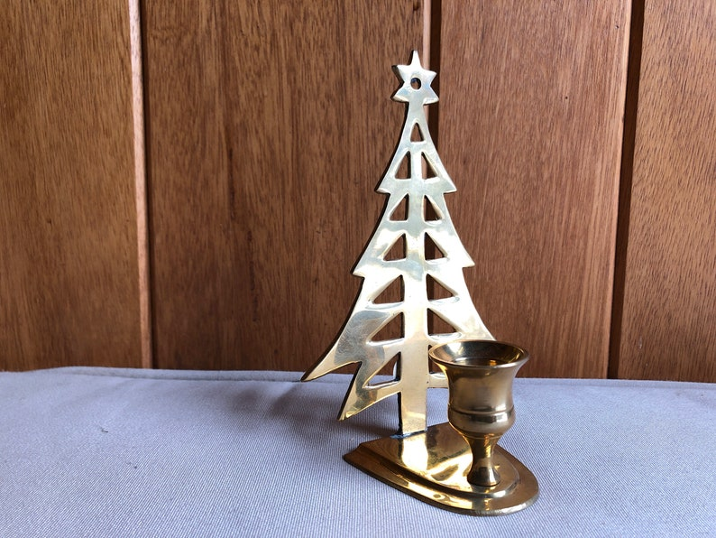 Brass Christmas Tree Candle Holder  Vintage Brass  image 0