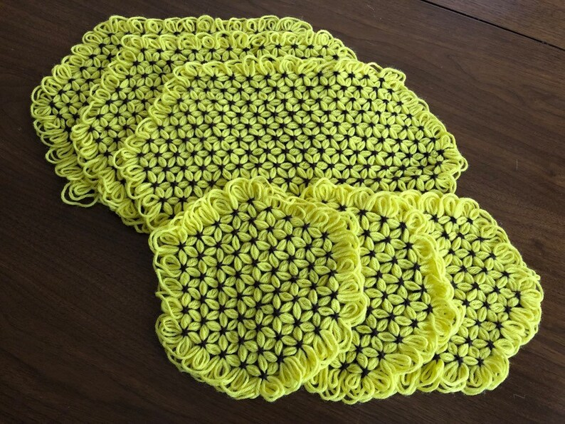 Vintage Crochet Placemats and Doilies  Yellow Daisy Spring image 0