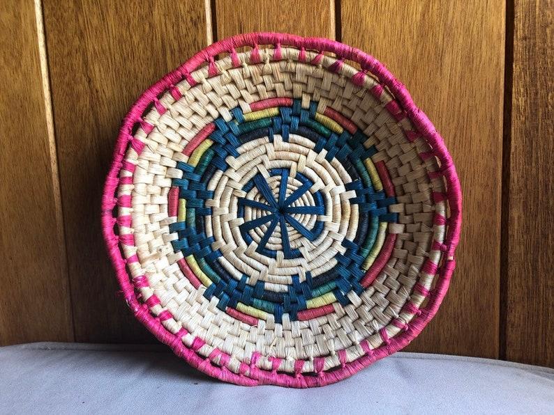 Round Rainbow Basket Wall Decor  Boho Colored Basket  image 0