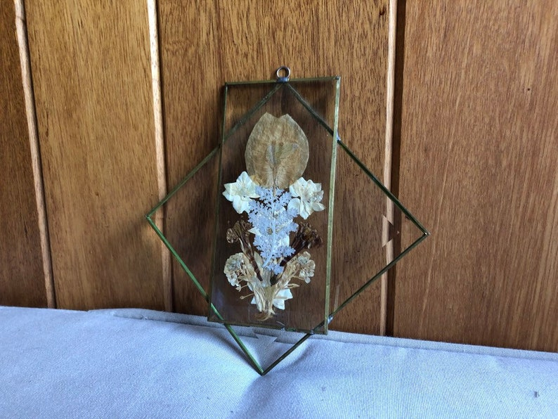 Vintage Glass Dried Flower Suncatcher Wall Hanging  Pressed image 0