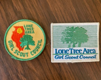 Two Vintage Lone Tree Area Girl Scout Patches   Retro Kitschy Patch   70s Vintage   Orange mod