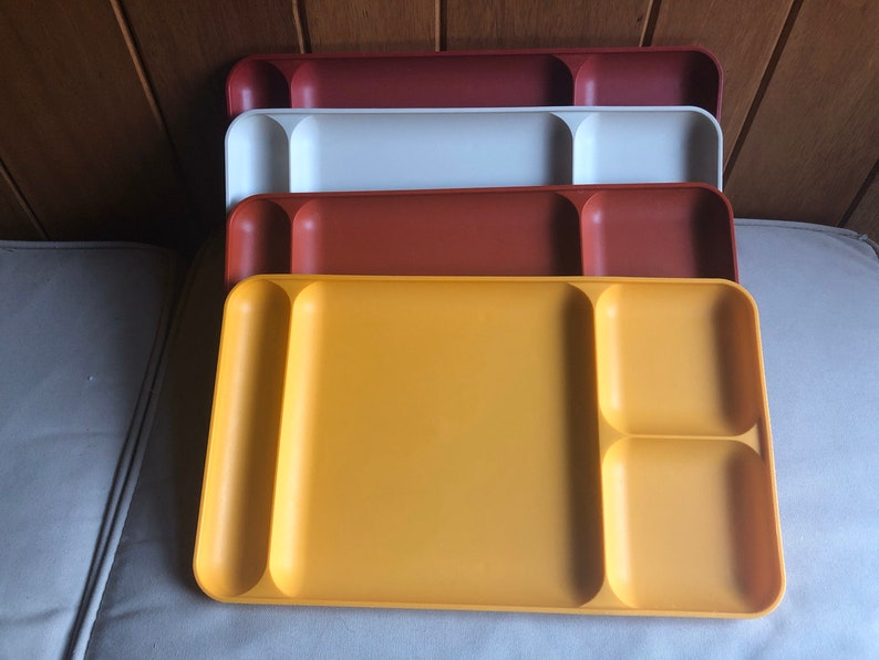 Four Tupperware Trays 1535 Set Lot of 4 Red Orange Yellow image 0