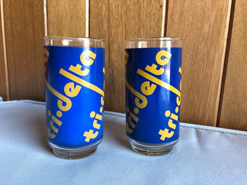 Pair Vintage Tri Delta Drinking Glasses  Delta Delta Delta image 0