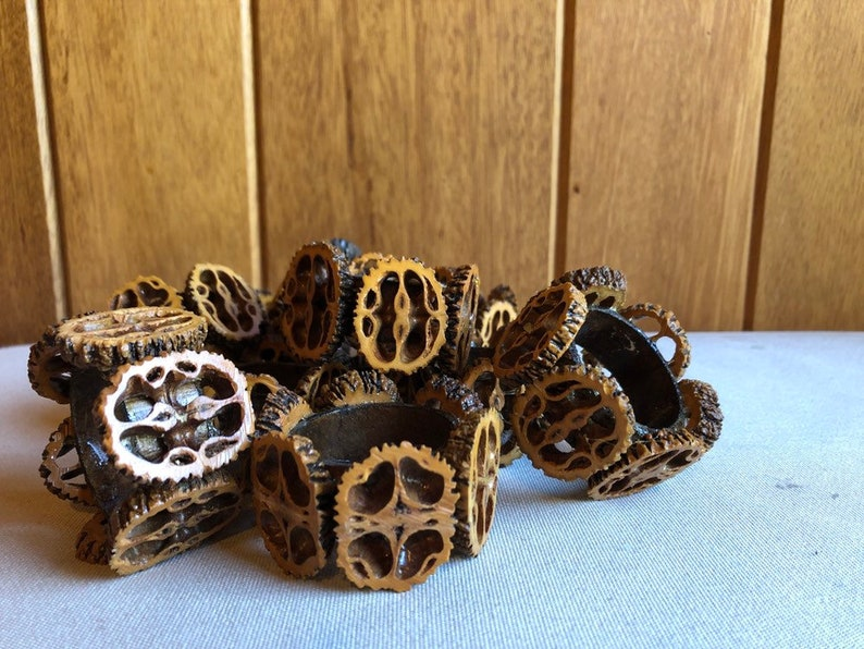 Set of 10 Vintage Handmade Acorn Walnut Napkin Rings  Fall image 0