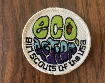 Retro, Vintage Eco Action Girl Scout Patch   Retro Kitschy Patch   70s Vintage   Earth