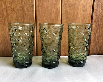 "Three medium Lido Milano Green Glasses | Tall Juice Tea 5.5"" Tall Anchor Hocking Green Glass | Retro Midcentury"