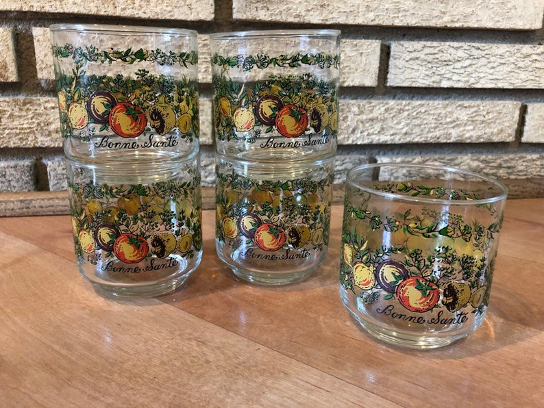 5 Libbey Bonne Sante 3 Vegetable Spice of Life Glasses  image 0