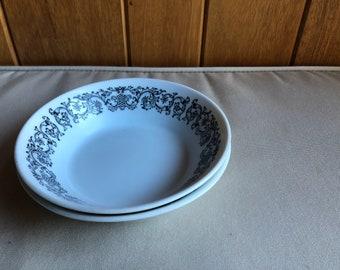 Vintage ECKO Eterna Corsair Pattern 1301   Two Bowls   Cereal or Soup Bowls   Vintage China Set