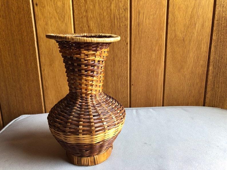 Wicker Vase Boho Decor  Basket Vase for Desktop Shelf image 0