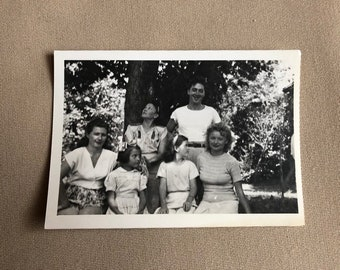 Old Photo of a Family Outside Summer Vintage Photograph   Black and White Vintage Original Photo   1960s   Little Girls