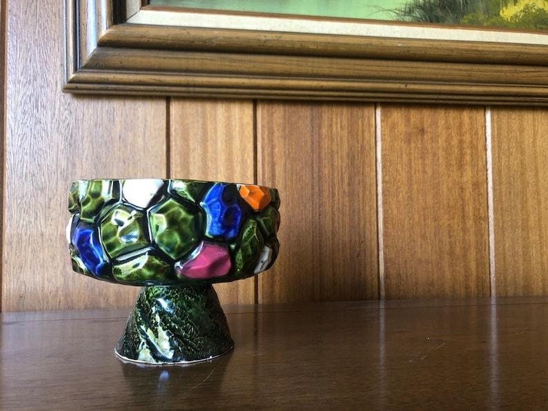 Vintage Midcentury Pedestal Green Planter  Gorgeous Avocado image 0