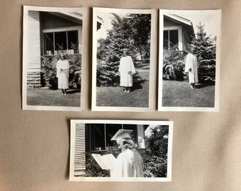 Set of Four Old Vintage Graduation Photos, 1960s   Girl in Cap and Gown   Vintage Photograph   Black and White Vintage Original