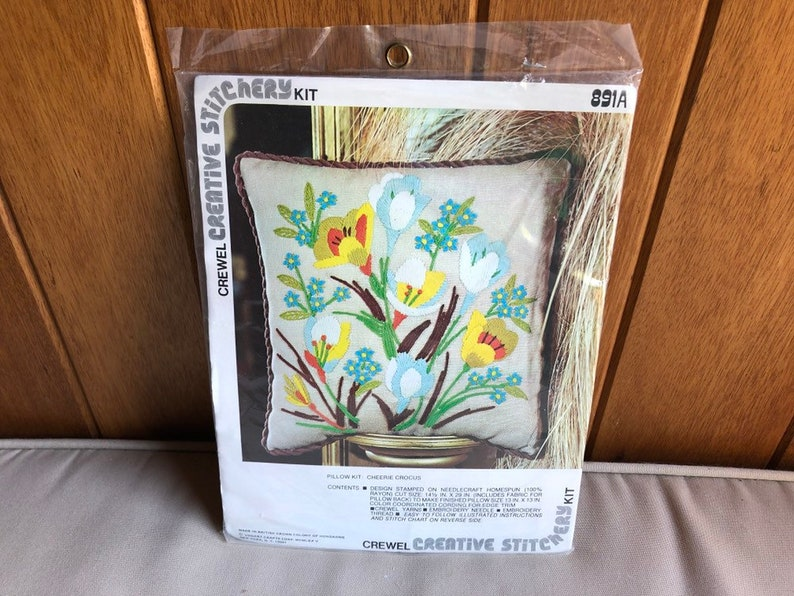 Vintage Crewel Pillow Kit  Creative Stitchery Cheerie Crocus image 0
